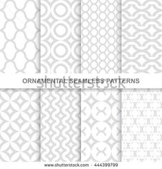 Ornamental seamless patterns. 8 Decorative infinity backgrounds for your design and ideas.