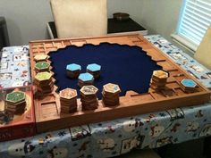 Personal made Oak Catan game Catan Board Game, Board Game Table, Wooden Board Games, Wood Games, Cnc Projects, Woodworking Projects, Settlers Of Catan, Dungeons And Dragons Dice, Game Storage