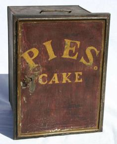 "19th C ""Pies  Cakes"" orig ptd tin pie safe"