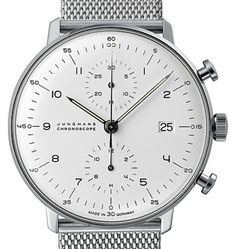 """The """"Max Bill"""" Chronoscope by Junghans. A remarkable example of Bill's original Bauhaus work. Fascinated by time for decades, he designed this beautiful chronograph for Junghans in 1962."""