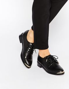 Image 1 ofRiver Island Lace Up Brogue Flat Shoes