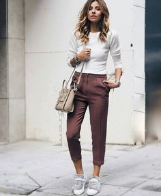 Pants: brown tumblr capri cropped top white top long sleeves bag nude bag shoulder bag fur sneakers