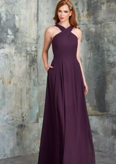 Strappy A-line Pleated Skirt with Pockets Chiffon Floor Length Bridesmaid Dresses barijay543