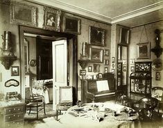 """""""Interior of a luxurious Victorian drawing room, looking towards a bedroom. The Albany, Piccadilly, Greater London, 1888"""""""