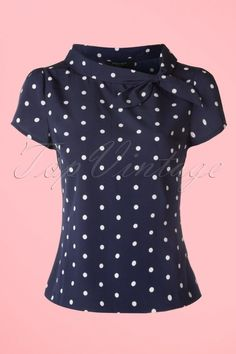 Fever ~ 50s Garland Polkadot Top in Navy