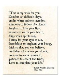 Thank You Quotes Discover Ralph Waldo Emerson Quote My Wish For You Grad Graduation Gift Literary Art Print Poetry Art Print Unframed Poetry Quotes, Words Quotes, Me Quotes, Motivational Quotes, Sayings, Poetry Art, Inspirational Poems, Inspirational Quotes For Graduates, Cousin Quotes