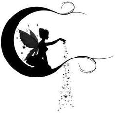 Silhouette Fairy With Fairy Dust On Half Moon Tattoo Stencil Fairy Silhouette, Silhouette Portrait, Silhouette Images, Tattoo Hada, Silhouettes, Fairy Lanterns, Fairy Tattoo Designs, Fairy Jars, Kirigami