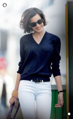 Navy sweater with white jeans?