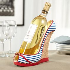 Our Nautical Girl wine bottle holder is overboard with Cape Cod chic! Inspired by the classic summer wedge, this high heel wine bottle holder features nautical blue and white stripes with red and gold. Wine Bottle Holders, Wine Stoppers, Fine Wine, Wine Gifts, Wine Rack, Best Gifts, 50 Birthday, Awesome Gifts, Betty Boop