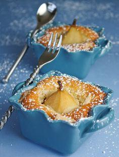 Anjou Poached Pear Almond Cakes and Mardi Gras Macarons Recipe Mini Desserts, Just Desserts, Delicious Desserts, Dessert Recipes, Yummy Food, Plated Desserts, Pear Dessert, Dessert Blog, Pear And Almond Cake