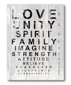 Eye Chart 'Love' Stretched Canvas | Daily deals for moms, babies and kids