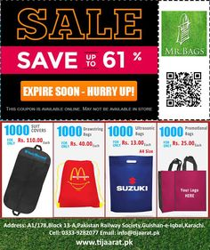 TIjaaratpk offers a huge discount on 23rd March 2017. Contact us and visit tijaarat store for best discount on shopping bags, documents pouch,  Non Woven Bags, promotional items and many more..  #23March #Pakistanoffers #saleonmarch #Marchsale #QarardadePakistan #tijarat #tijaarat #bestshopping #shoppingstore