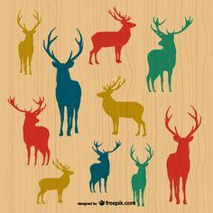 순록/ 루돌프/ deer sihouettes