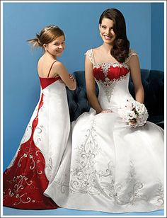 Beautiful gown for both bride and flower girl