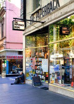 'Paperback Reflections'. Bourke Street, Melbourne. © G.C. Campbell.