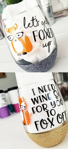 Cute Fox Wine Glasses. Cute mugs, funny mugs, cool mugs, glitter mugs, glitter wine glasses, unique mugs, unique wine glasses, tea glasses, wine glasses, gifts. #mugs #wine #shopping #gifts #commissionlink