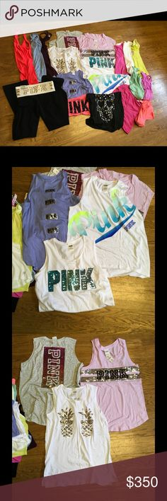 Huge Victoria secret pink bundle About half new with tags. 1 Yoga bling pants, 17 tanks and 1 tee sizes are mixed small & medium PINK Victoria's Secret Tops Tank Tops