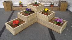 3-Tier Corner Planter - TANALISED Timber | FREE GIFT AND FREE SHIPPING in Garden & Patio, Plant Care, Soil & Accessories, Baskets, Pots & Window Boxes | eBay!