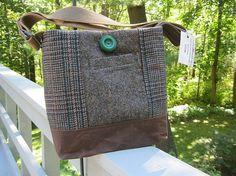 Brown tweed tote bag, brown shoulder bag, wool messenger bag, brown and green suit coat bag, recycled wool handbag, waxed canvas bag
