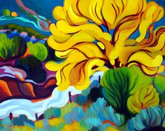 "Tracy Turner New Works Gallery.                   ""One Golden Cottonwood"".                                   Oil on panel."