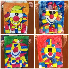 Mondrain clown in tempera paint