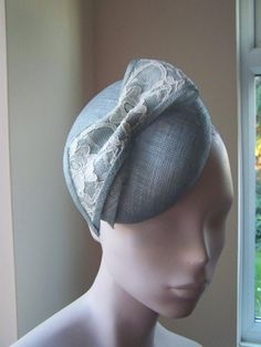 Cocktail Hat Ice Blue with Lace     BY MIND YOUR BONCE#millinery #hats #HatAcademy