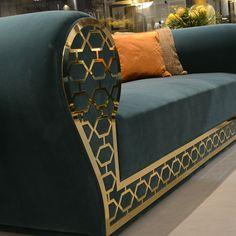 LUXURY SOFAS Sofa with Gold Metal Fretwork Design | TAYLOR LLORENTE FURNITURE