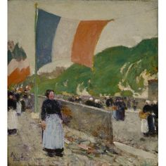 """""""Montmartre: July 14,"""" Childe Hassam, 1889, oil on canvas, 11 1/2 x 10 5/8"""", Terra Foundation for American Art."""