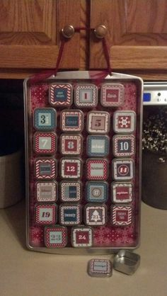 Days of December Stampin' Up! Advent calendar by Karen Altizer ... tins found at Michaels in wedding aisle