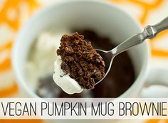 """""""This pumpkin mug brownie is best shared. It's pretty decadent, y'all. If you don't share it, you'll probably regret it in a few minutes. Believe me, I speak from experience."""" Challenge Accepted!"""