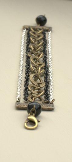 Chain Reaction Multi Strand Chain & Black Agate Bead Bracelet