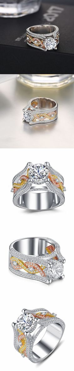 Bague Diamant Tendance 2018 : Lajerrio Jewelry Round Cut White Sapphire Gold and Rose Gold Engagement Rin Gold Jewelry, Jewelry Rings, Jewelery, White Sapphire, Diamond Are A Girls Best Friend, Beautiful Rings, Diamond Rings, Jewelry Design, Bling