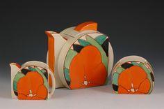 Andrew Muir   Clarice Cliff, Art Deco Pottery, Moorcroft and 20th Century Ceramics Dealer - Gardenia stamford trio