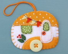 Felt caravan ornament Vintage trailer ornament by PuffinPatchwork