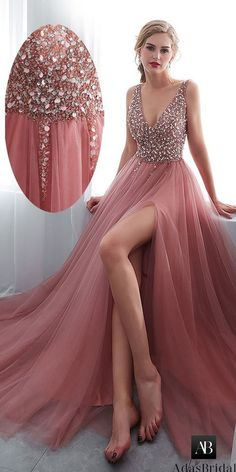 Necklines for dresses - Elegent Delicate Tulle Vneck prom dress Aline Evening Dress Beaded party dress – Necklines for dresses V Neck Prom Dresses, Necklines For Dresses, Sexy Dresses, Beautiful Dresses, Fashion Dresses, Long Dresses, Beaded Prom Dress, Prom Gowns, Fashion 2018