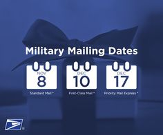2014 military mailing dates announced by USPS! To ensure delivery of cards and packages to your loved ones overseas, mail by these dates. www.operationwearehere.com/ideasforsoldiers.html