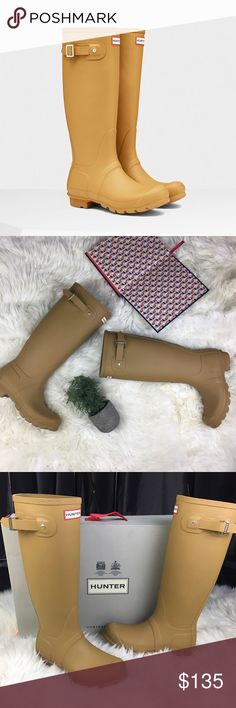 Hunter Original Tall Matte Rain Boot Burnt Sulphur Hunter Original Tall Matte Beige/Mustard Rain Boots Women.  Color burnt sulphur  Size 6  Made in Indonesia  10 inches from toe to heel 16 inches tall  Comes with Hunter shoe box bottom. No lid. As pictured. Hunter Shoes Winter & Rain Boots