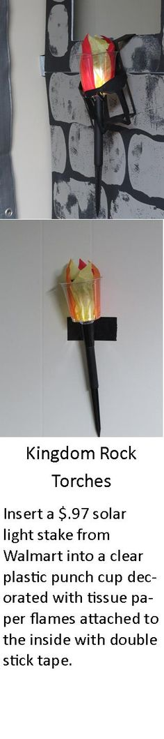 My torch for Kingdom Rock VBS. Just don't forget to put out in the sunlight for a recharge each day. Made 10 of these for $10 in under an hour.