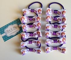 12 Pack Party Favors Sofia the First hair bow elastic ties + Extra Birthday Girl Boutique Bottlecap Necklace option on Etsy, $13.47