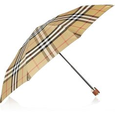 Burberry Shoes & Accessories Small check-print twill umbrella ($250) ❤ liked on Polyvore featuring accessories, umbrellas, burberry, small, taupe and burberry umbrella