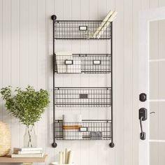 Birch Lane™ Heritage Julianne Wall Organizer With Wall Baskets Basket Shelves, Baskets On Wall, Storage Baskets, Entryway Storage, Storage Rack, Bathroom Storage, Kitchen Storage, Storage Ideas, Bathroom Ideas