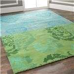 Sea Blues and Green Damask Collage Rug