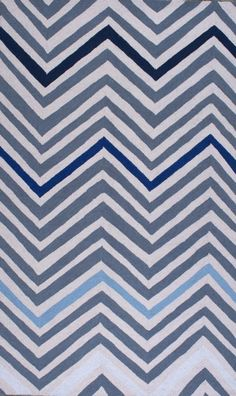 Homespun Chevron Blue Rug | Contemporary Rugs