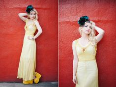Vintage 1930s Dress - Yellow Chiffon Bias Cut Gown - Sleeveless Party Wedding 30s  - Small