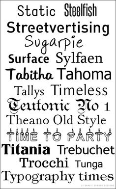 Fonts S-T  ~~ {18 Free fonts - no links but most can be found with a google search and most are free for commercial use}