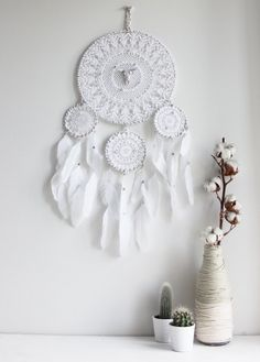 Brume de Nuit . white dreamcatcher with feathers & buffalo skull .