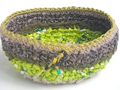 Items similar to Textile bowl oval Green olive lime taupe beige brown black Fabric crochet plastic bag eco friendly upcycled reused yarn plarn ooak handmade on Etsy Plastic Bag Crochet, Crochet Fabric, Plastic Art, Black Fabric, Project Ideas, Olive Green, Devil, Bowls, Taupe
