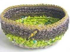 Fabric crochet plastic bag