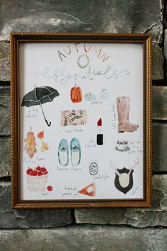Free printable watercolor art:  Autumn Essentials {Jones Design Co.}