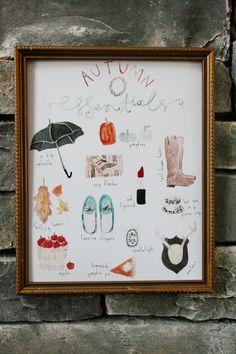 Free printable watercolor art:  Autumn Essentials {Jones Design Co.}